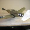 Tom Arnold's latest, a P-39 from the Midkiff short kit. Weight empty and balanced is 53grams, wing area is 95 sq. inches
